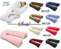 9 Ft / 12 Ft Comfort U Pillow Full Body Maternity Pregnancy Support + Free Case