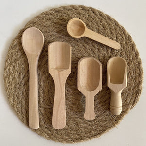 Wooden Scoops and Spoons - 5 Piece Pack