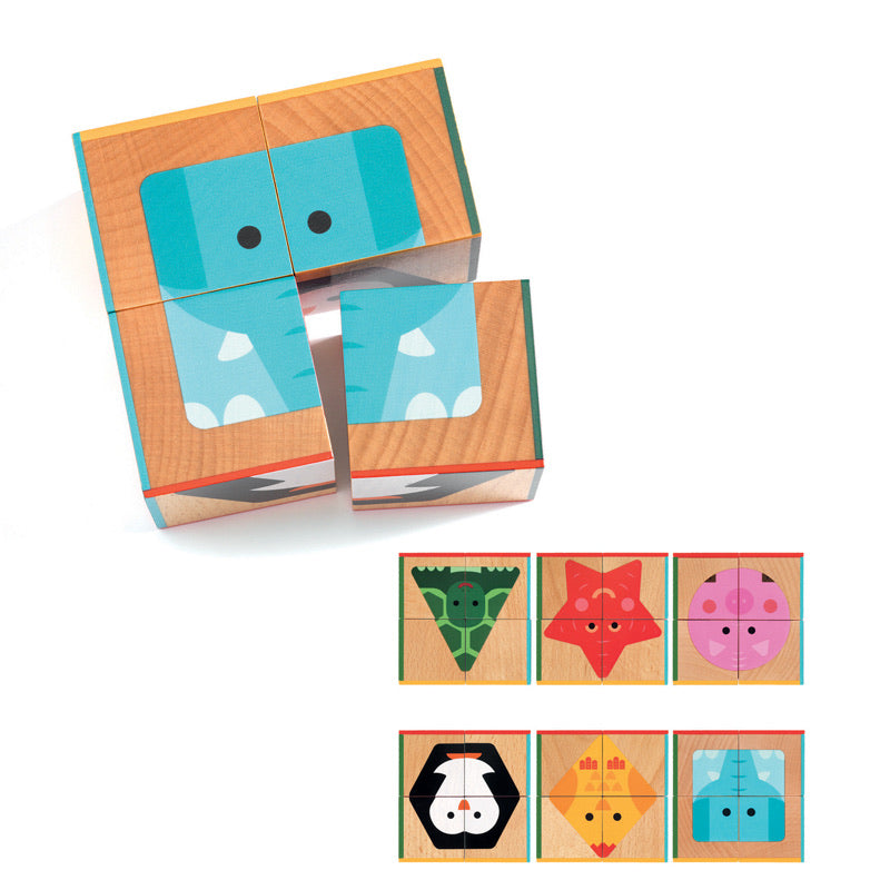 Wooden Animal Cube Puzzle