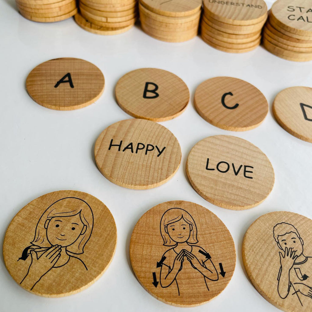 Sign Language Double-sided Wooden Disks