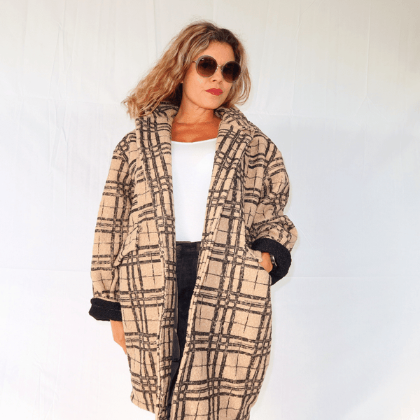 Manteau oversize à carreaux
