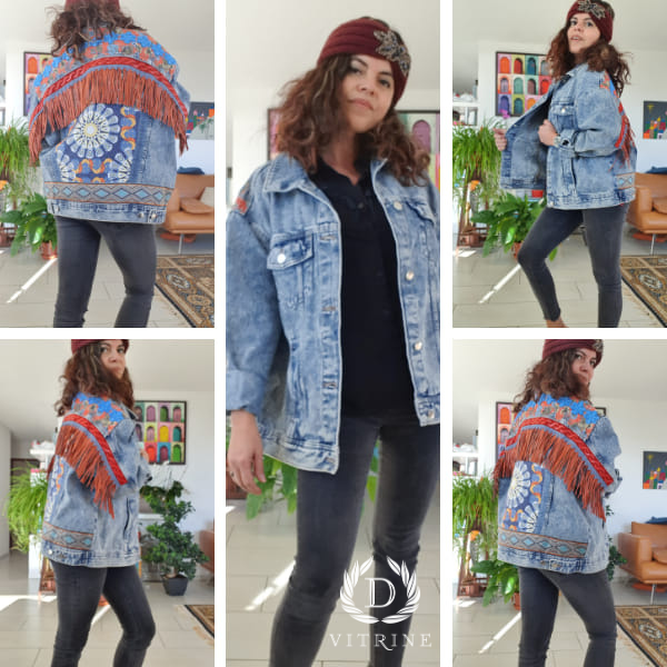 Veste en jean à ornements boho orange bleu avec franges