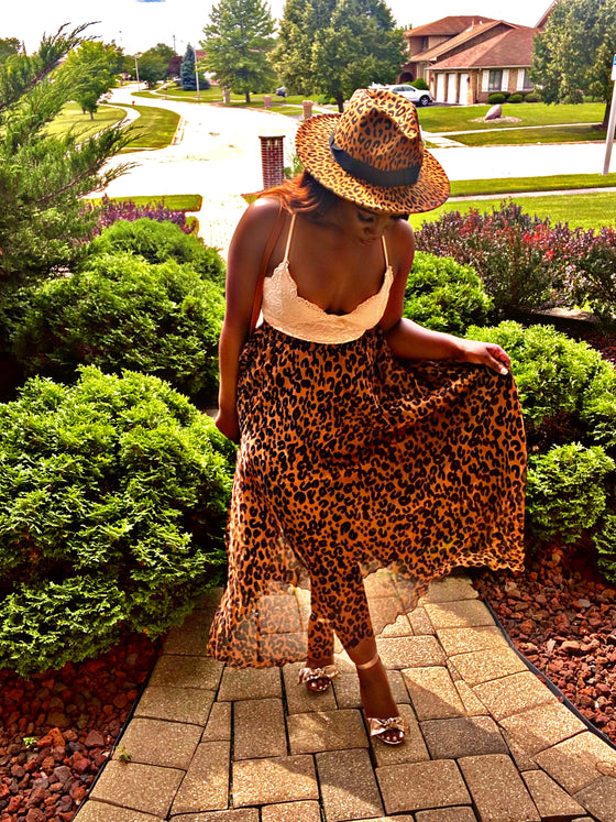 chocolate leopard sheer skirt
