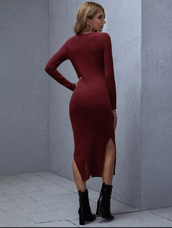 Maroon Split bodycon