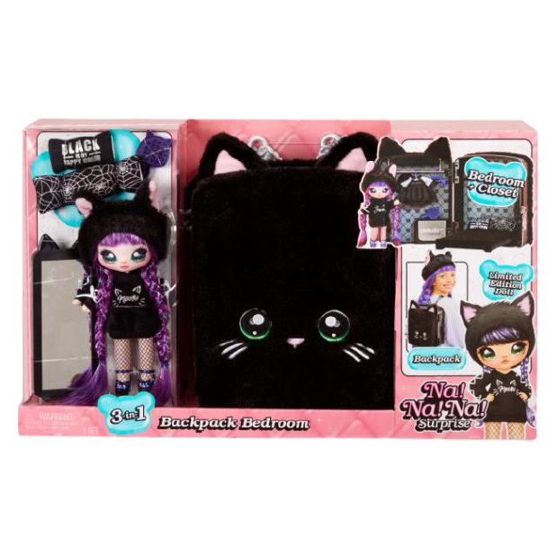 Na! Na! Na! Surprise 3-in-1 Backpack Bedroom Black Kitty Playset with Limited Edition Doll - KidFocus