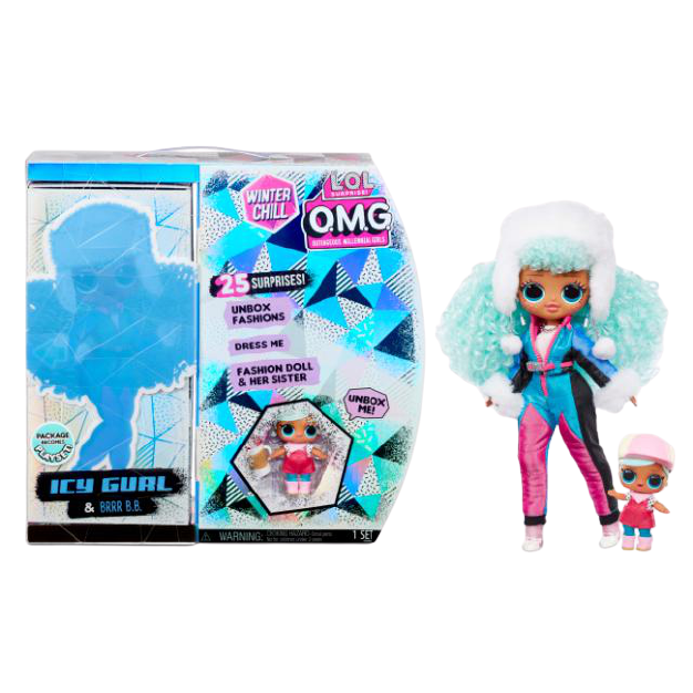 L.O.L. Surprise! O.M.G. Winter Chill Icy Gurl Fashion Doll & Brrr B.B. Doll with 25 Surprises - KidFocus