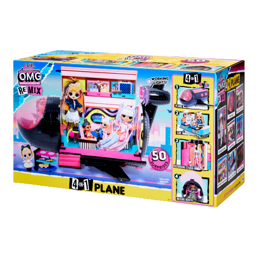 L.O.L. Surprise! O.M.G. Remix 4-in-1 Plane Playset Transforms – 50 Surprises