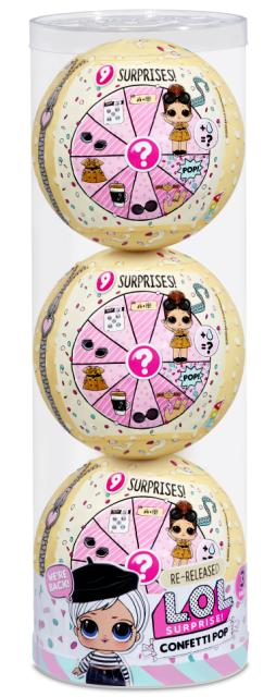 L.O.L. Surprise! Confetti Pop 3pk Beatnik Babe 3 Re-released Dolls each with 9 Surprises - KidFocus
