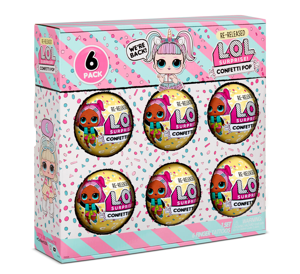 L.O.L. Surprise! Confetti Pop 6pk Unicorn Re-released Dolls