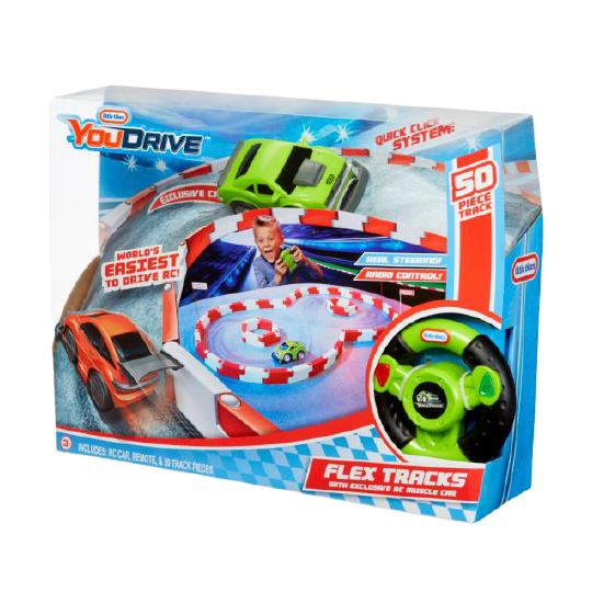 YouDrive Flex Tracks with RC Green Muscle Car - KidFocus