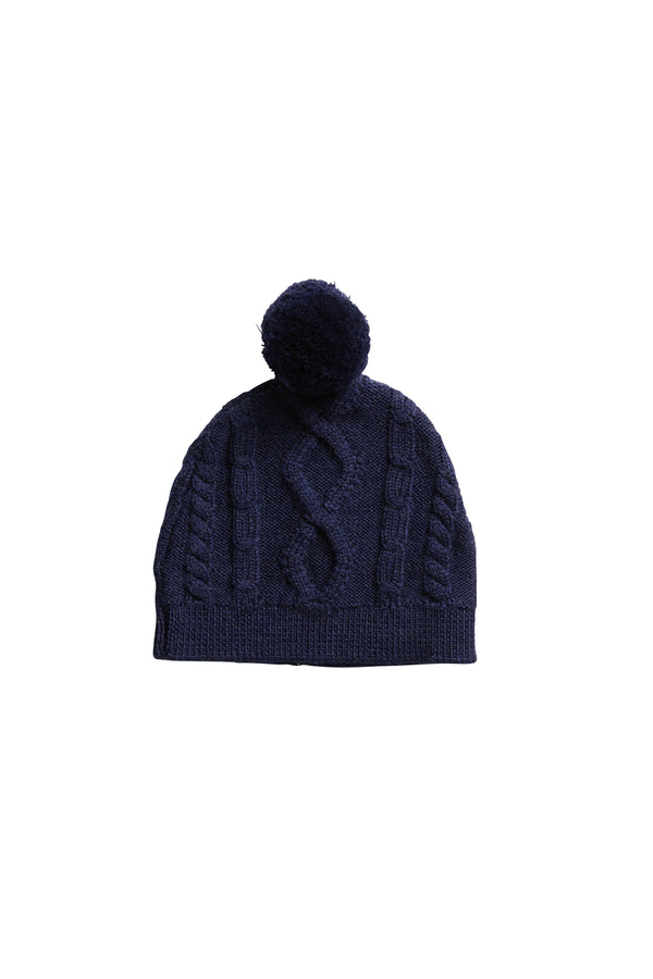Cable Baby Beanie Navy