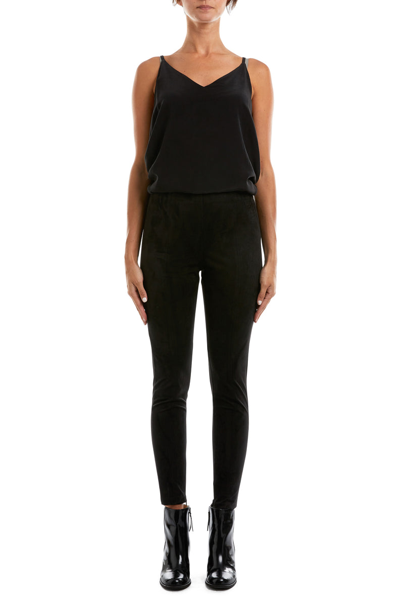 Mock Suede Pant Black