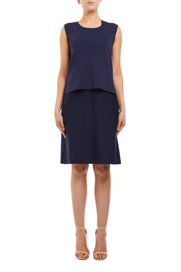 Twiggy Crepe Shift Dress Navy