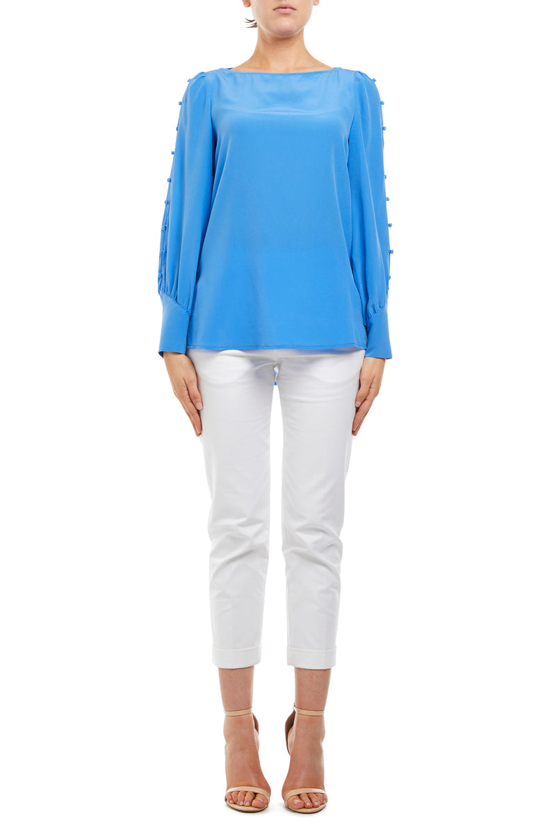 Paige Silk Blouse Cornflower Blue Front