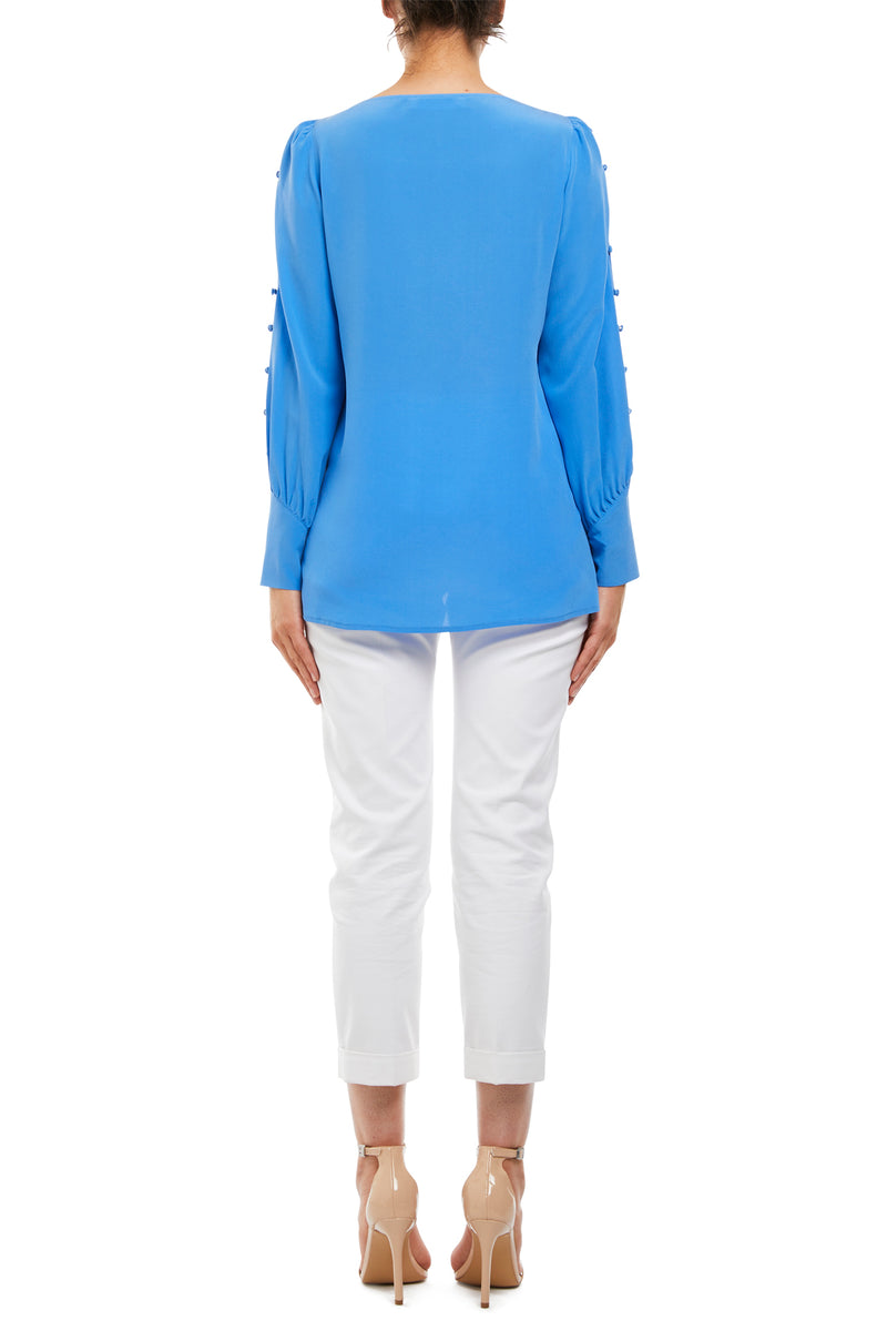 Paige Silk Blouse Cornflower Blue Back