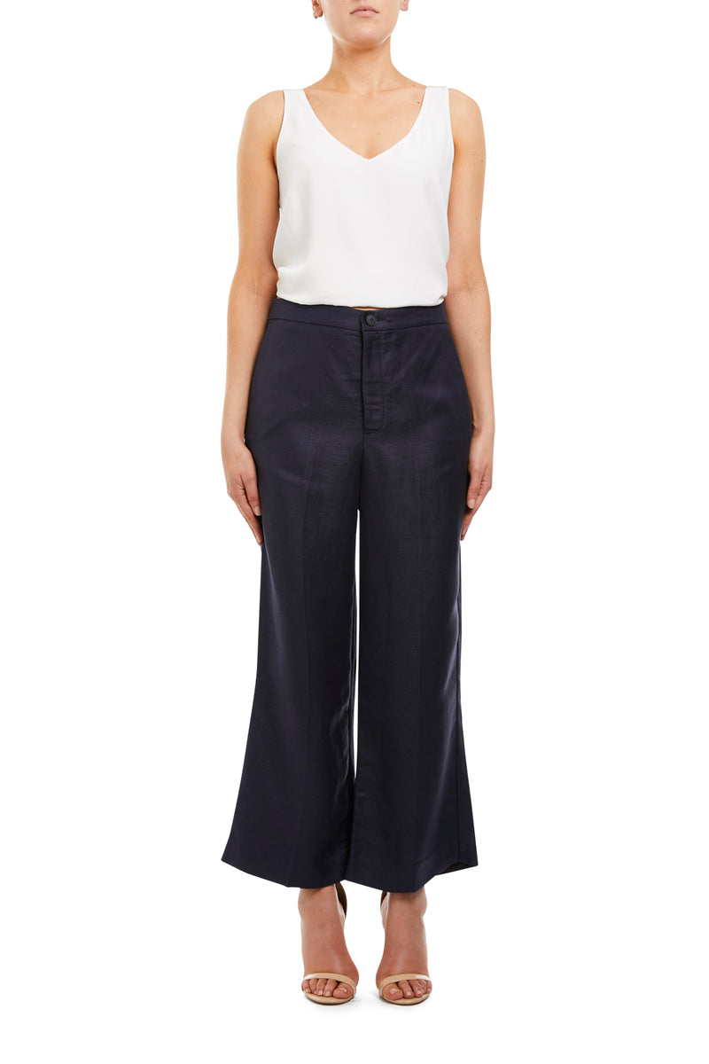 Linen Pant Navy Front