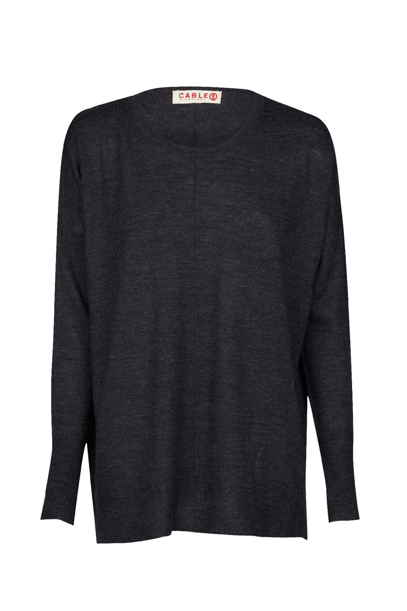 Superfine Relaxed Sweater Charcoal