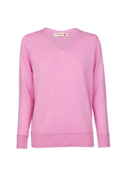 Cashmere V Jumper French Rose