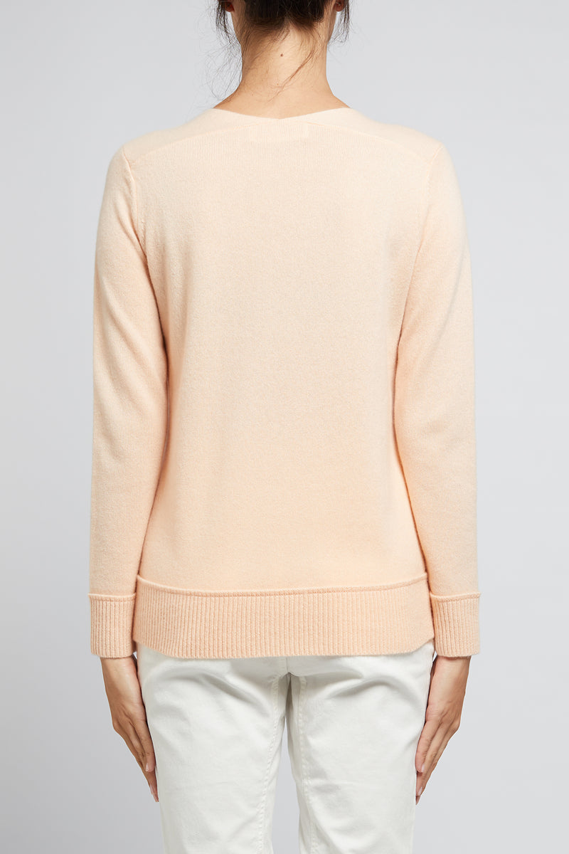 Cashmere V Jumper Peach Back