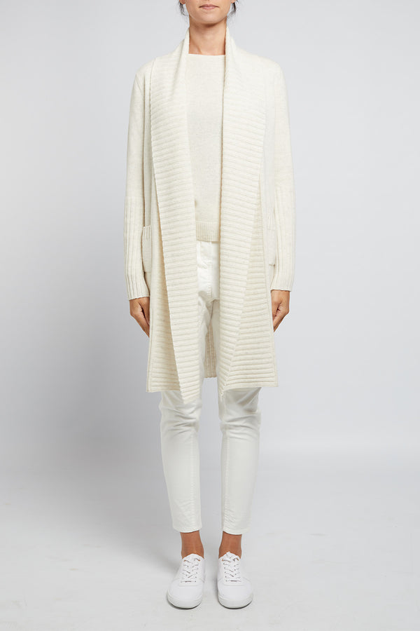 Cashmere Long Cardigan Snow Marle