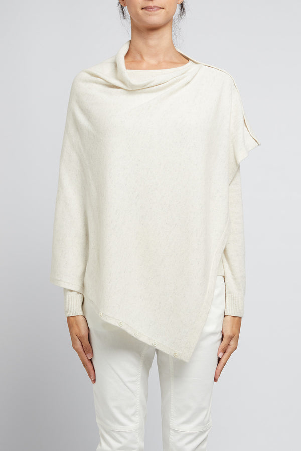 Cashmere Button Poncho Snow Marle