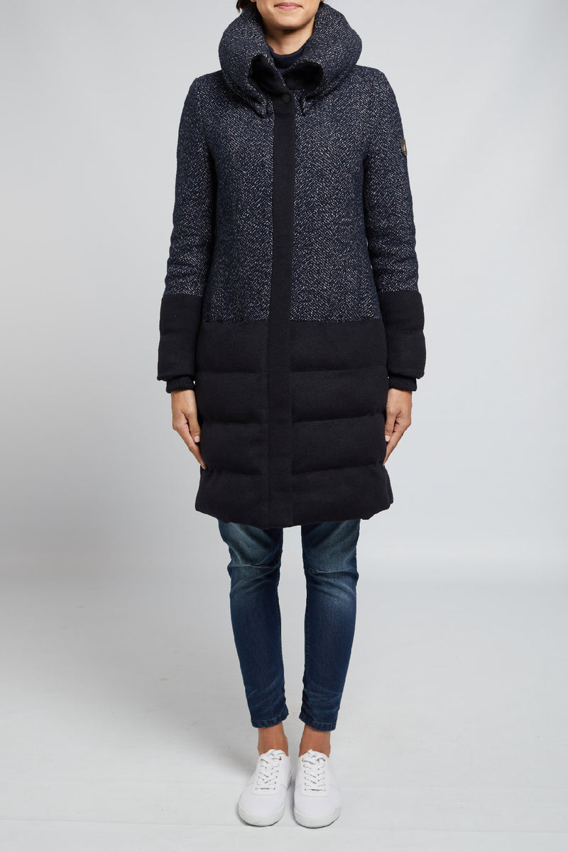 Lina Long Wool Puffer Navy