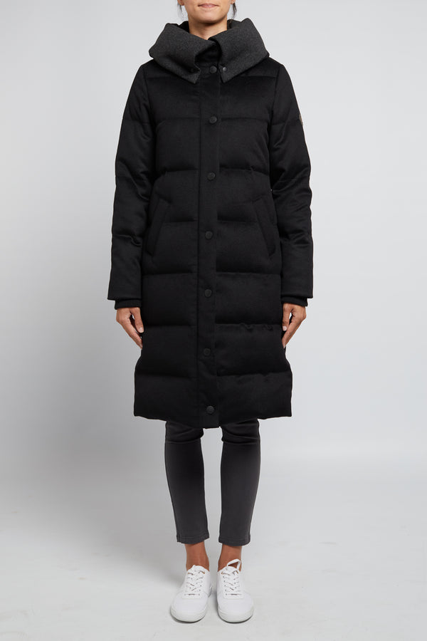 Melton Down Long Puffer Black