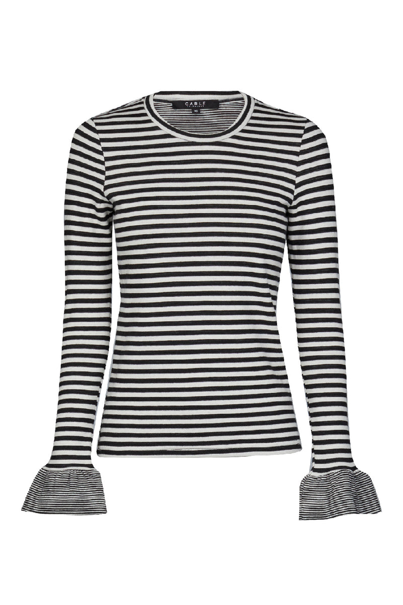 Stripe Frill Top Charcoal