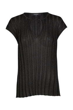 Metallic Pleat Top Black