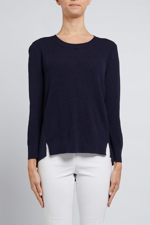 Chloe Crepe Sweater Navy