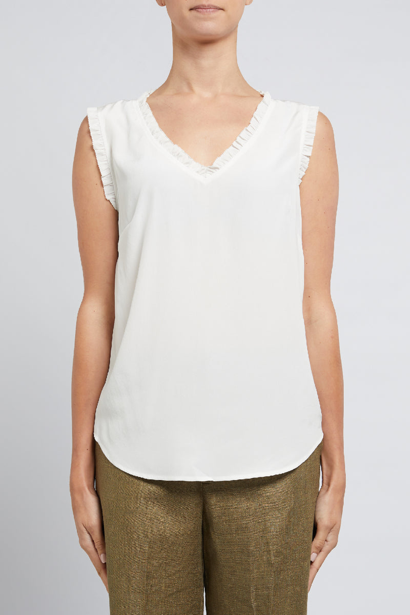 Liza Silk Top White Front
