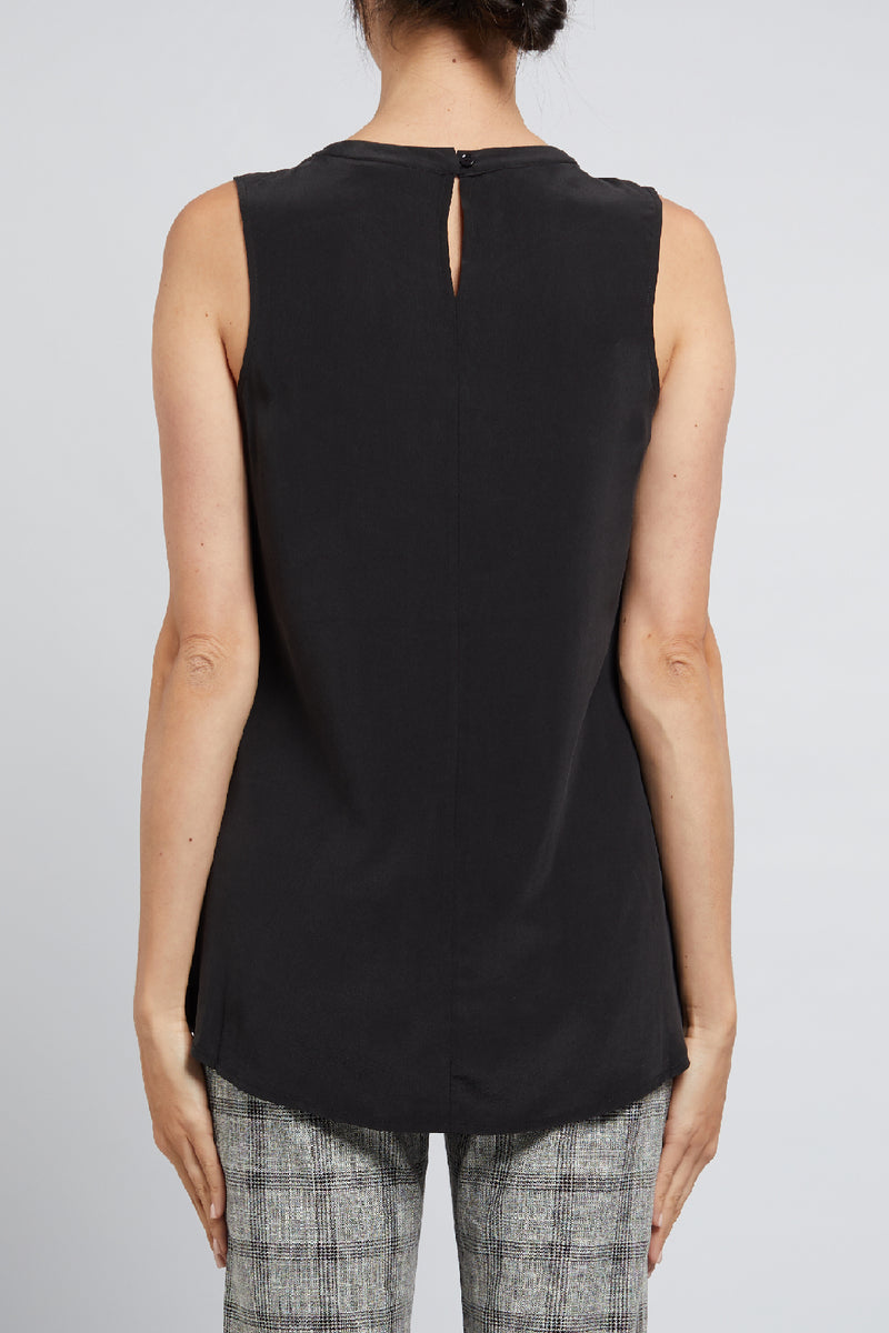 Adele Silk Tank Black