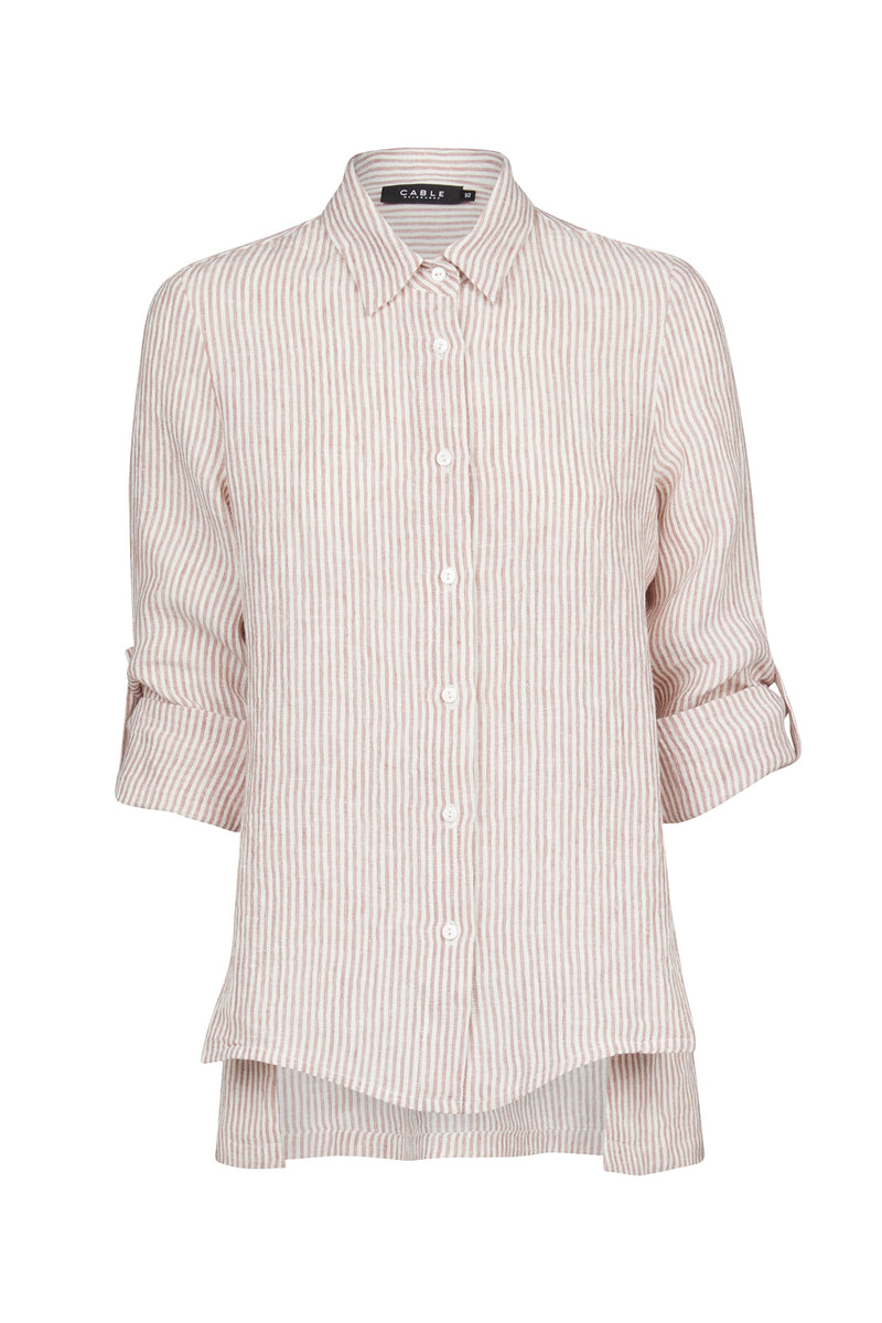 Flossy Linen Shirt Burnt Sienna Stripe