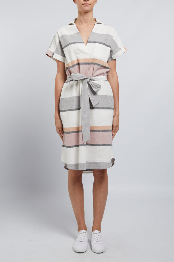 Sunday Linen Dress Musk Stripe