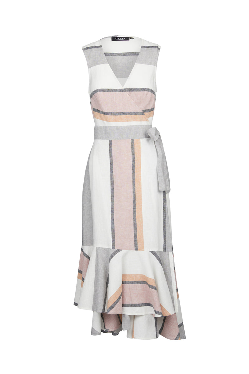 Positano Linen Dress Musk Stripe