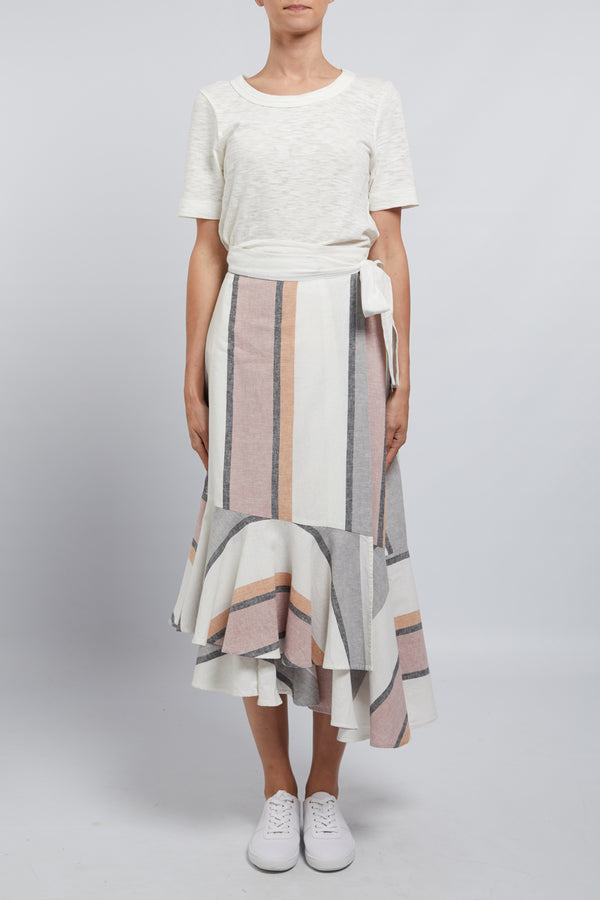 Ravello Linen Skirt Musk Stripe