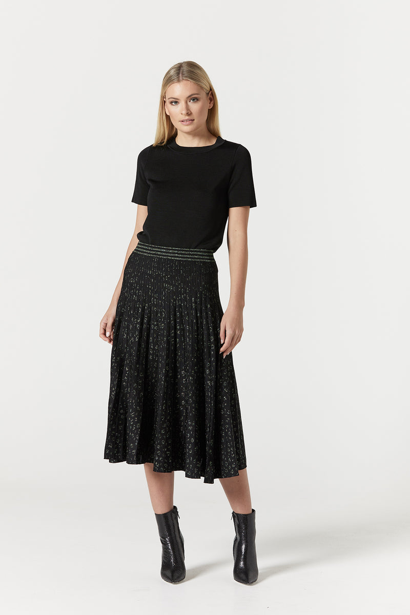 Metallic Animal Skirt Green/Black
