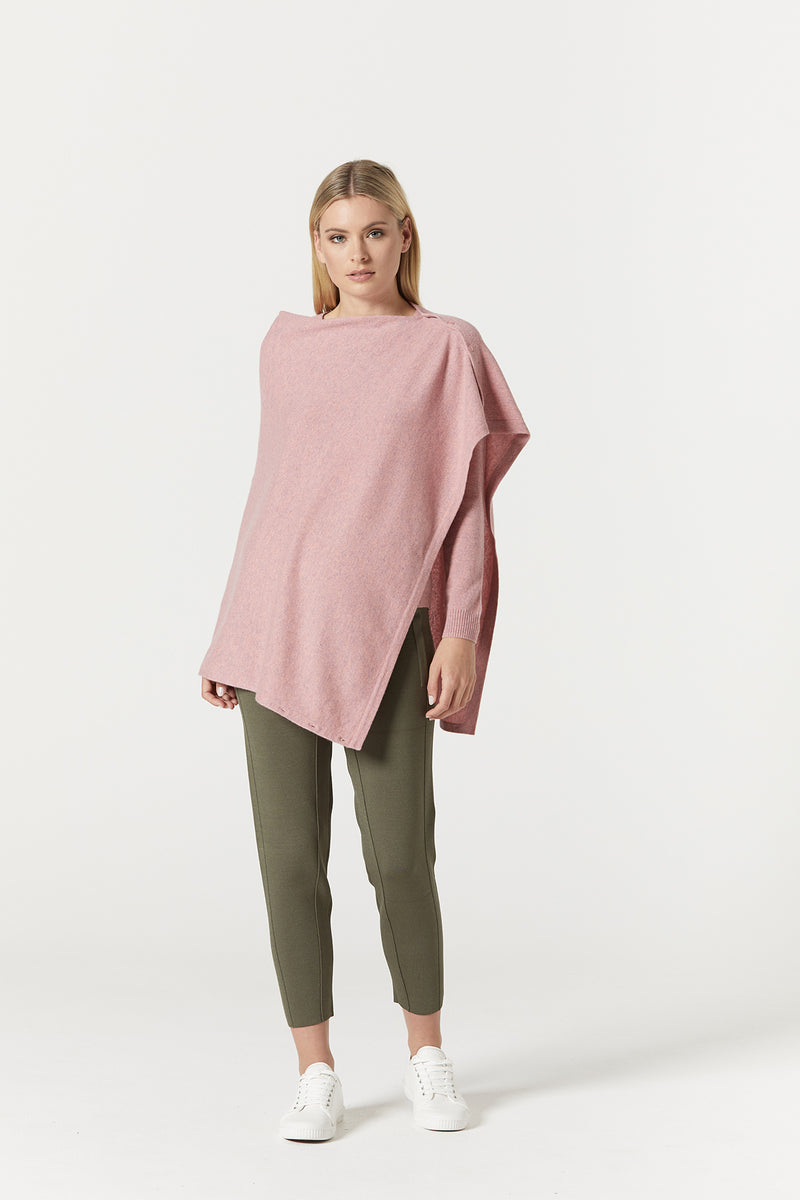Pure Cashmere Button Poncho Musk Marle Front