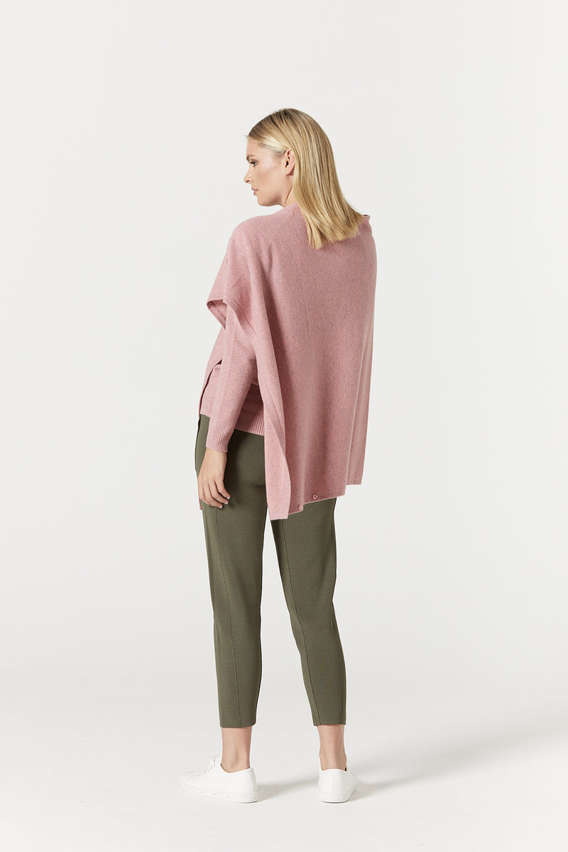 Pure Cashmere Button Poncho Musk Marle Side