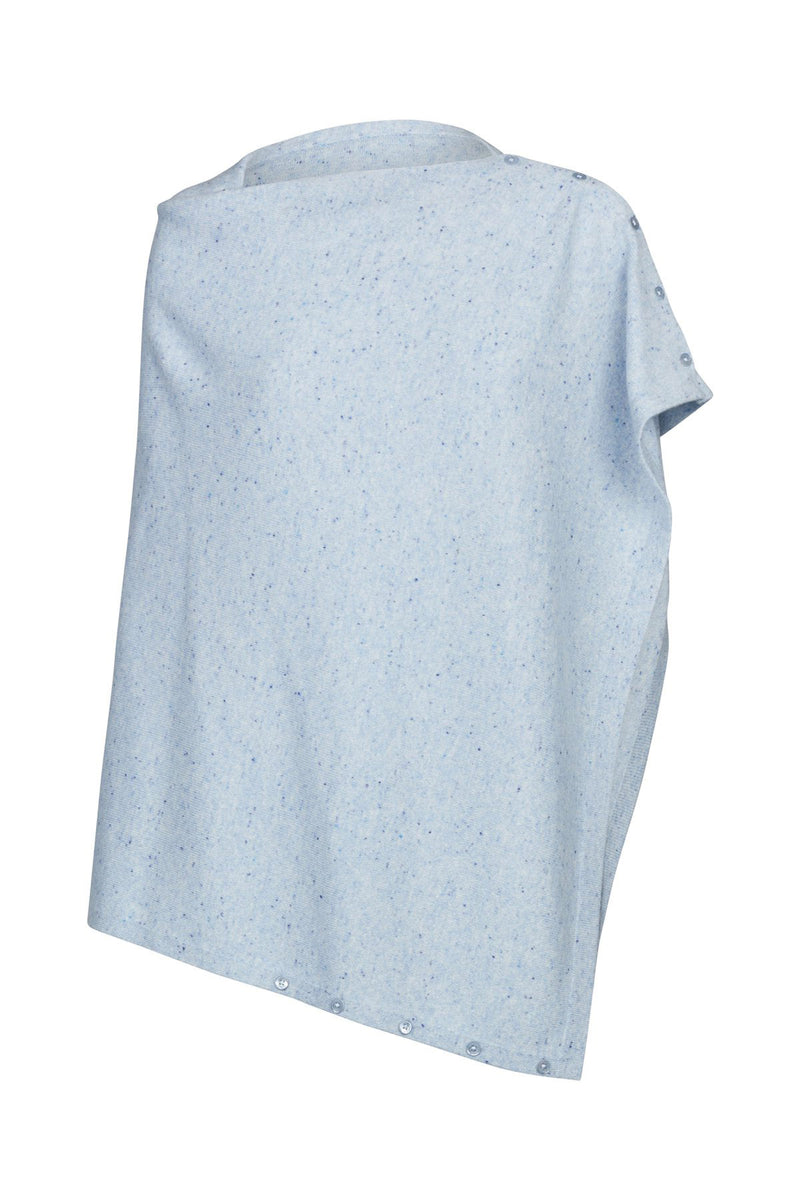 Pure Cashmere Button Poncho Chambray Crop