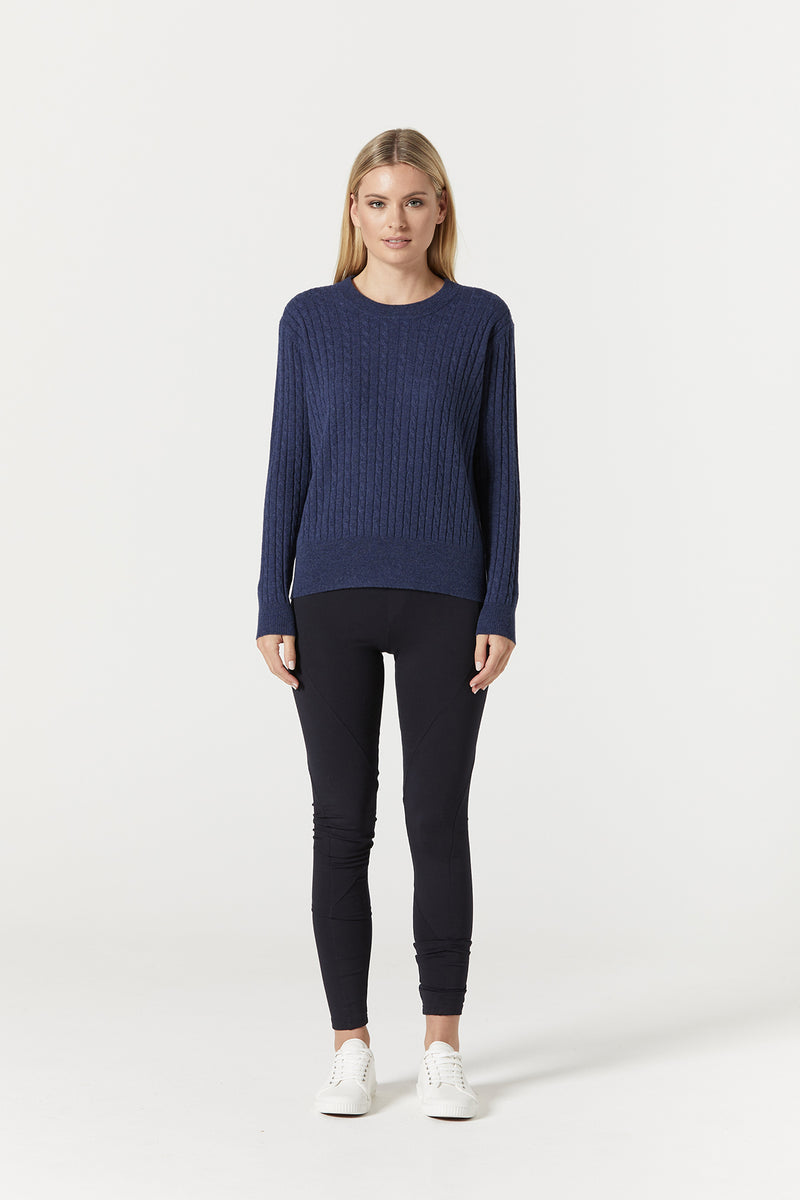 Cashwool Cable Jumper Blue Front