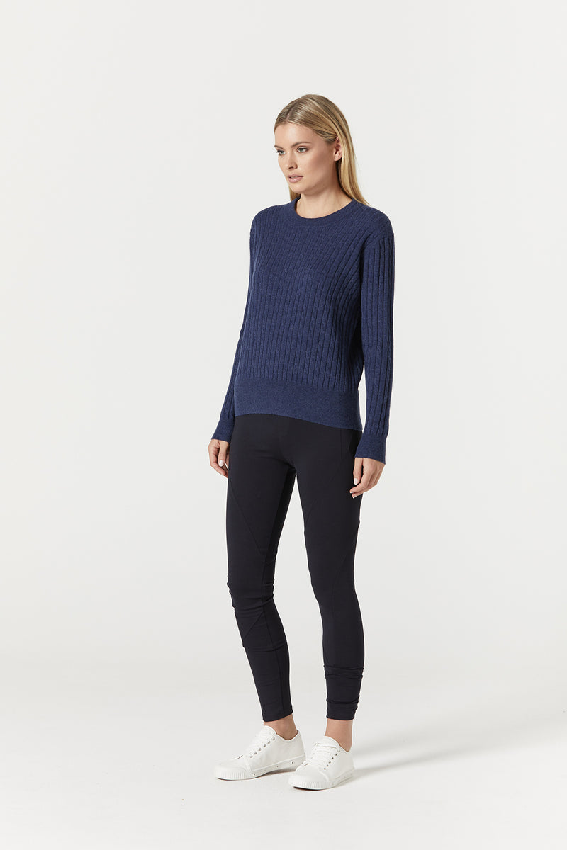Cashwool Cable Jumper Blue Side