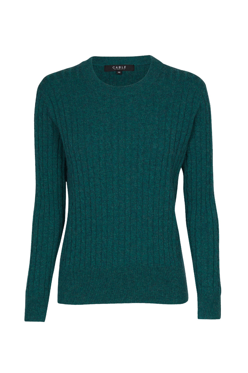 Cashwool Cable Jumper Moss Green