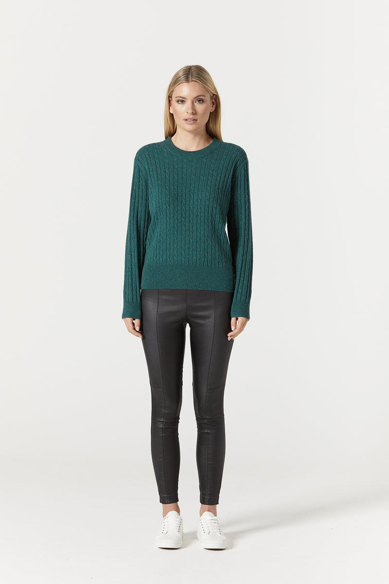 Cashwool Cable Jumper Moss Green Front