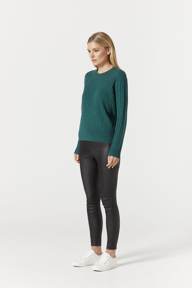 Cashwool Cable Jumper Moss Green Side