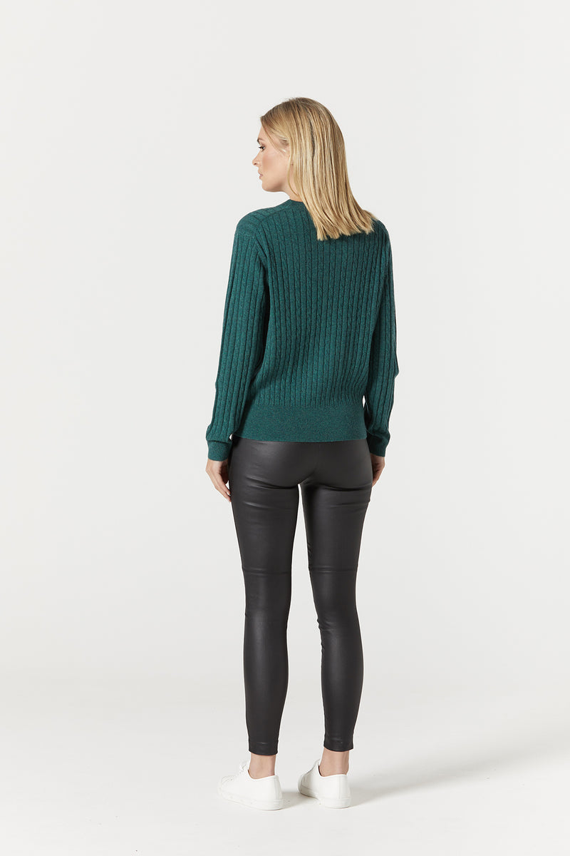 Cashwool Cable Jumper Moss Green Back