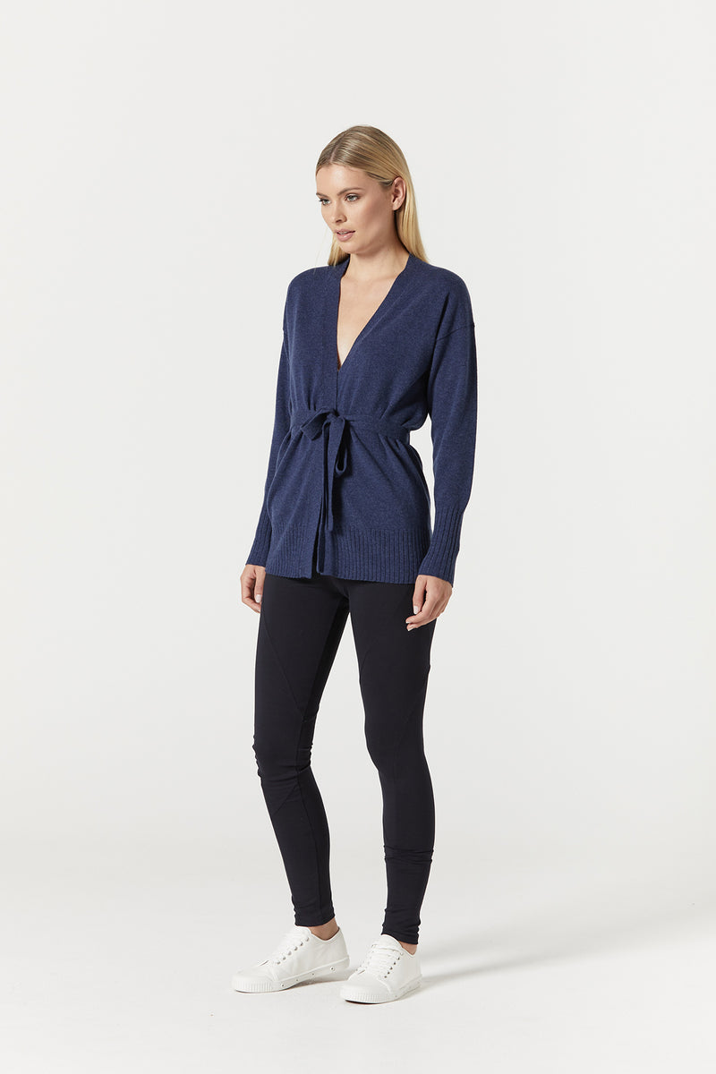 Cashwool Belted Cardigan Denim