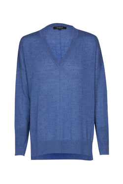 Superfine Bobble V Jumper Cornflower