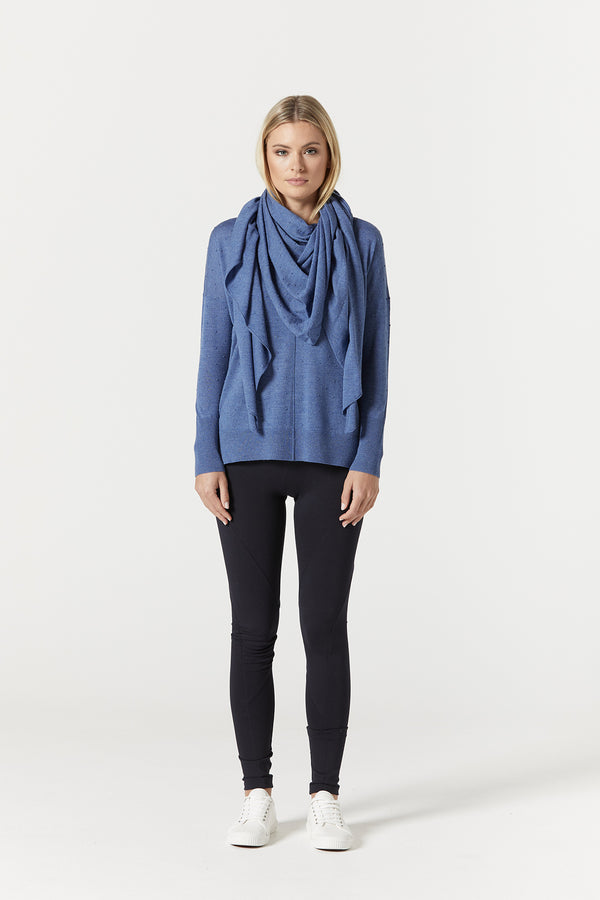 Superfine Bobble Shawl Cornflower Front