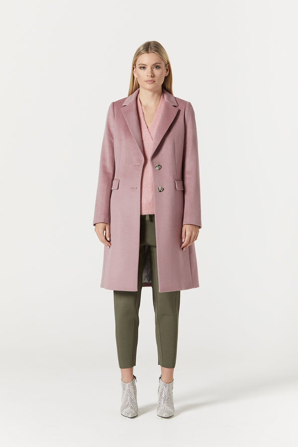 Harrison Wool Coat Pink Front